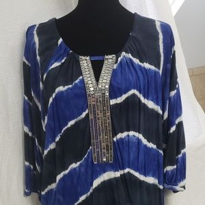 EUC Large INC Blue Tie Dyed Top